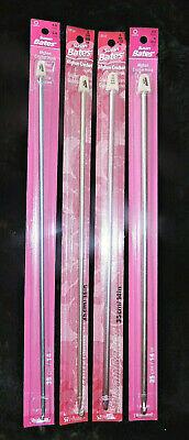 """14/"""" Afghan Crochet Hook Susan Bates Silvalume Aluminum US G-6 J-10 H-8 K-7.5"""
