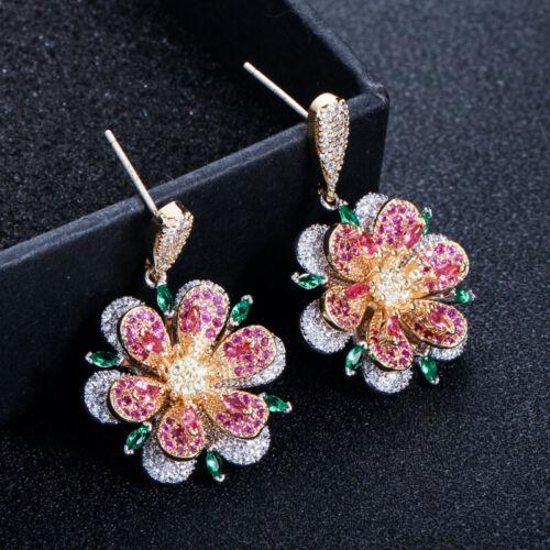 Rose Rot Grün Smaragd Zirkonia Kristall 925 Silber Flower Dangle Drop Ohrringe