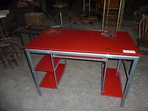 Ref bureau moderne dessus verre rouge et support métal ebay