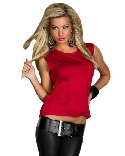 Top smanicato maglietta donna croce taglio vivo rosso bianco nero fuxia nuovo