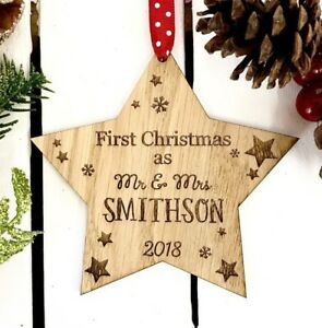 Personalised 1st First Christmas Together Married Wooden Xmas Tree ...