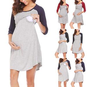 924052576cd Image is loading Women-Maternity-Long-Sleeve-Dress-Breastfeeding-Nursing- Dresses-