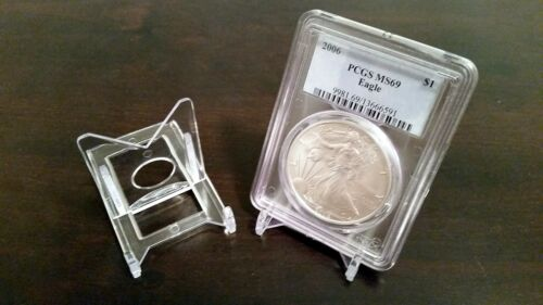 """~100 Adjustable 2/"""" Display Stand Easel Coin PCGS NGC Air-Tite Capsule"""