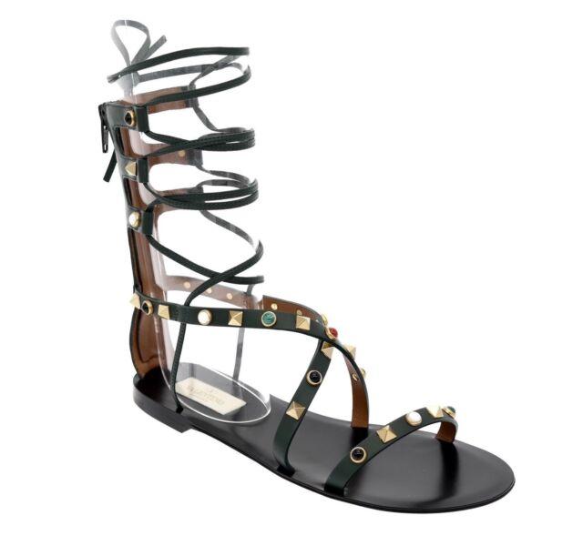 f0663399e34c  1495 Valentino Garavani Rockstud Sandals Rolling Gladiator Size 6 New