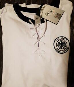 DFB-Retro-Shirt-Trikot-Herren-L-mit-Schnuerung-Fussball-NEU-m-Etikett