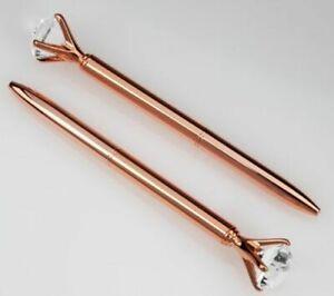 2 Stück Kugelschreiber mit Kristallglas-Diamant