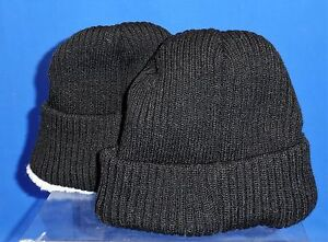 18c6b664f Youth Fleece Lined Black Knit Style Traditional Stocking Winter Cap ...