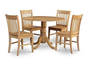 Details About 5pc Round Dinette Kitchen Dining Table W 4 Wood Seat Chairs In Light Oak Finish