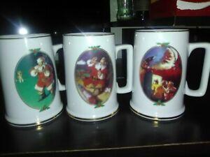 Vintage-Coca-Cola-Santa-Mugs-1996-Collector-039-s-Edition-Set-of-3