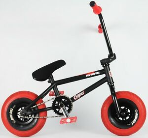 10-034-MINI-BMX-fat-wheels-trick-monkey-bike-Rocker-Black-red-tyres-pedals