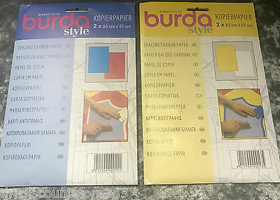 White And Yellow Burda Tracing Carbon Paper 81 x 55cm 2 Sheets