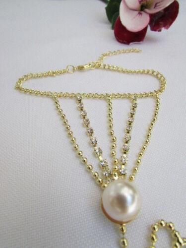 Women Bracelet Fashion Gold Thin Metal Dressy Hand Chain Slave Ring Pearl Bead