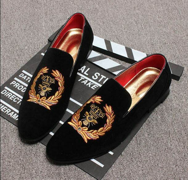 Men's Embroidered Pointed Toe Casual Low Heel Slim Fit Pumps Retro Epulary Shoes