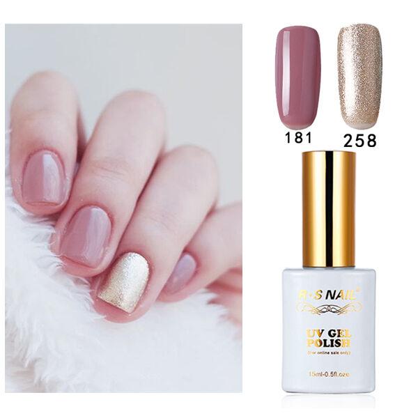 2 PIECES RS NAIL 181-258 Gel Nail Polish UV LED Varnish Soak Off 15ml Nail Salon