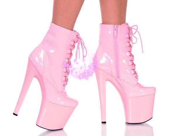 Punk femmes Patent Leather Ankle bottes lace Up Platform club Dancing Stilettos