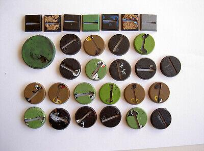 #24 Wh40k Warhammer Aos 25mm Rotondo Quadrato Plastica Basi Utilizzati In Plastica Gw Bits Parte-mostra Il Titolo Originale