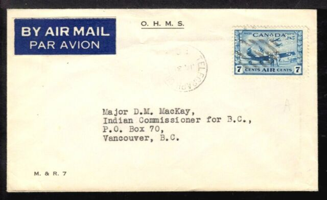 CANADA OFFICIAL #OC8 7c on 1943 TELEGRAPH CREEK, BC., AIR MAIL COVER