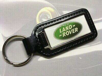 LAND ROVER DEFENDER D90 Quality Black Real Leather Keyring OBLONG