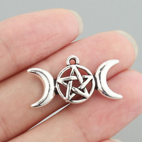 6Pcs Antique Silver Triple Moon Goddess Charms Pendants Wiccan Pagan 29x15mm