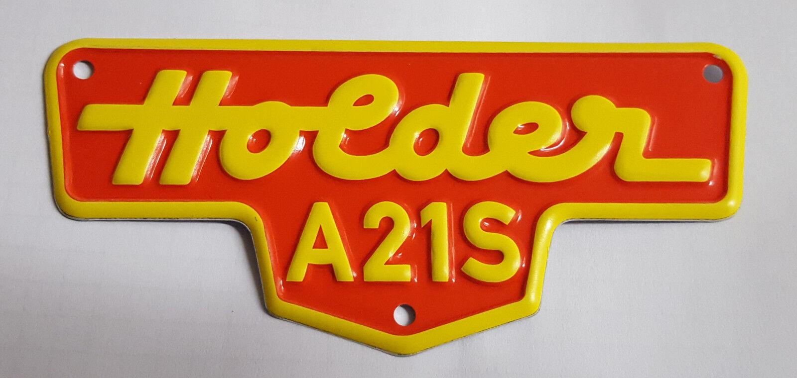 Schild für Holder A21S Typenschild Blechschild Amaturenschild 118578