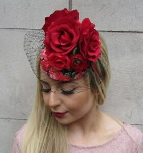 db653e129e0c0 Image is loading Black-Red-Rose-Birdcage-Veil-Flower-Fascinator-Pillbox-