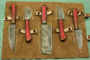 Image Is Loading 5 Piece Red Wood Kitchen Knife Set Hand