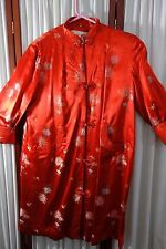 1940's Satin Robe-M/L-Red Satin w/Flowers,Quilting-Shanghai,China-STUNNING-SALE