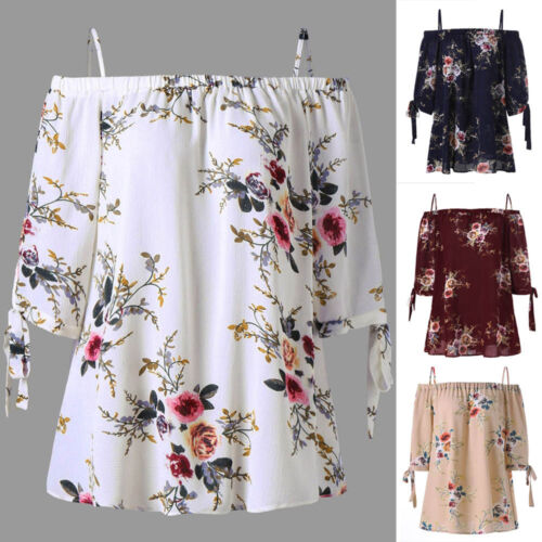 Womens Fashion Off Shoulder Plus Size Floral Print Blouse Casual Loose Tops Cami