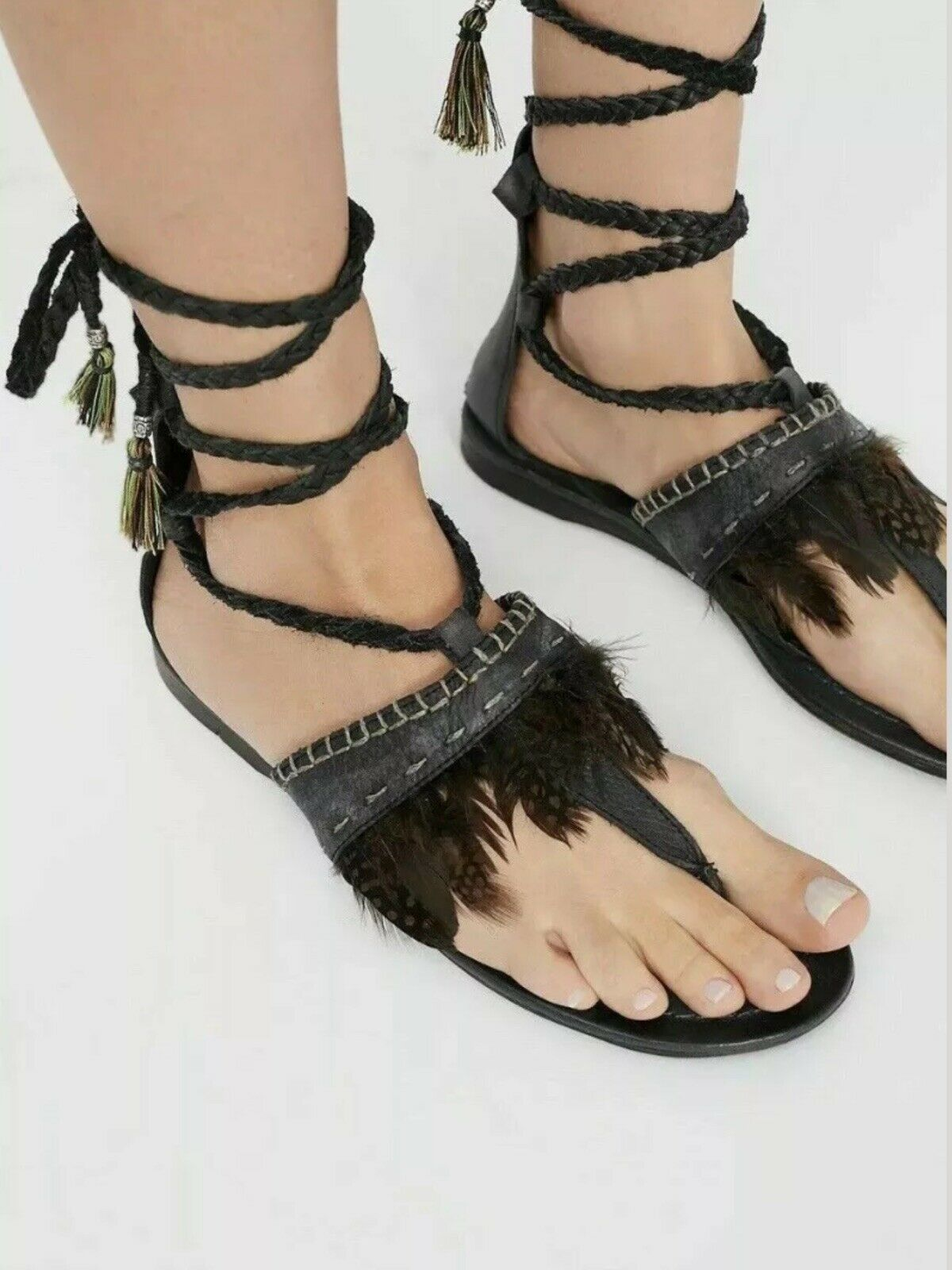 Free People Bora Bora Braided Black Wrap Sandals w Feathers  Size 37