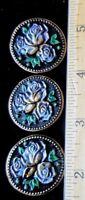 Gorgeous Czech Glass Buttons Victorian Style Black w/ Gold Rhinestones  X70
