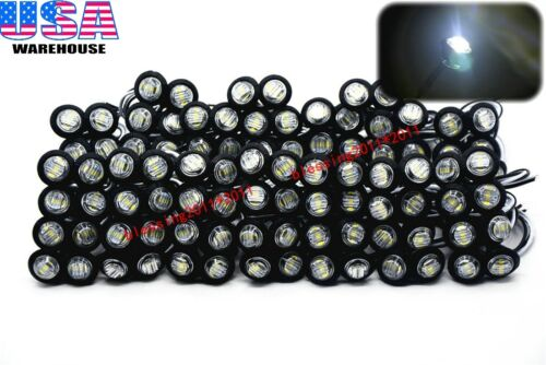 """100x 3//4/"""" Marker Lights Triple Diode LED Truck Trailer Clearance Indicator White"""
