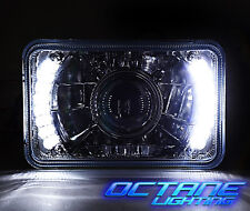 """4X6"""" White LED Halo Projector Crystal Clear Headlight Halogen Headlamp Bulb Each"""