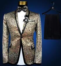 New Mens Bowtie One Button Prom Glitter peacock Sequins Embroidery Suits 2 Sets