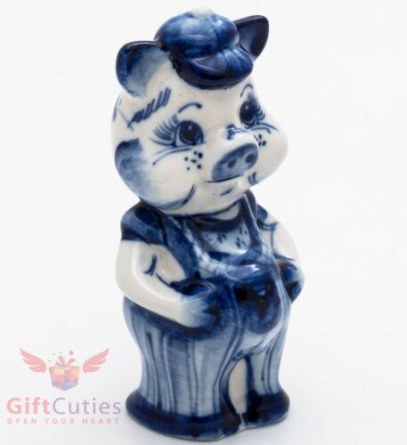 Porcelain gzhel Pig Piglet Boy figurine handmade in Russia Гжель