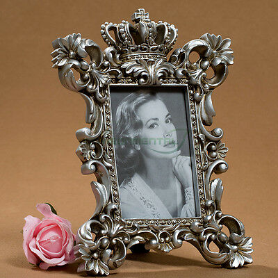 """4""""*6"""" Retro Luxury Empire Crown Silver Classic Resin Photo Picture Frame Vintage"""