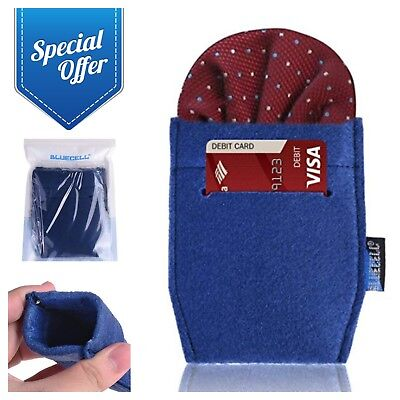 2-Pack Pocket Square Card Holders for Men's Suits Business Card Case