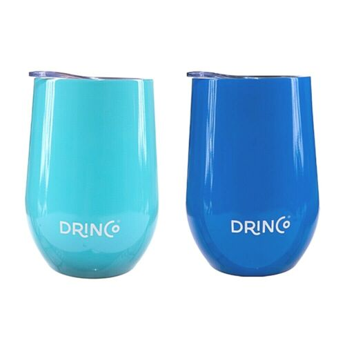 Drinco 12oz Stainless Steel Insulated Wine Tumbler Glass with Lid Metal Set Pack