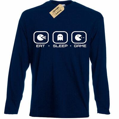 KIDS BOYS GIRLS Eat Sleep GAME T-Shirt pac ghost gamer funny geek nerd
