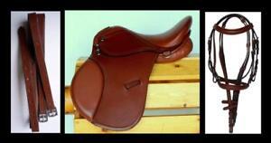15-034-English-All-purpose-Show-Trail-Mini-Pony-Saddle-Bridle-Leathers-48-034-Rich-TAN