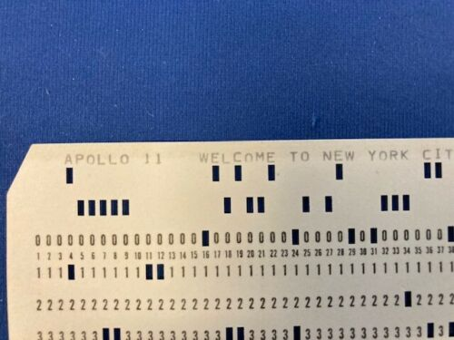 APOLLO 11 TICKER TAPE PARADE PUNCH CARD NEIL ARMSTRONG BUZZ ALDRIN RARE COLLINS