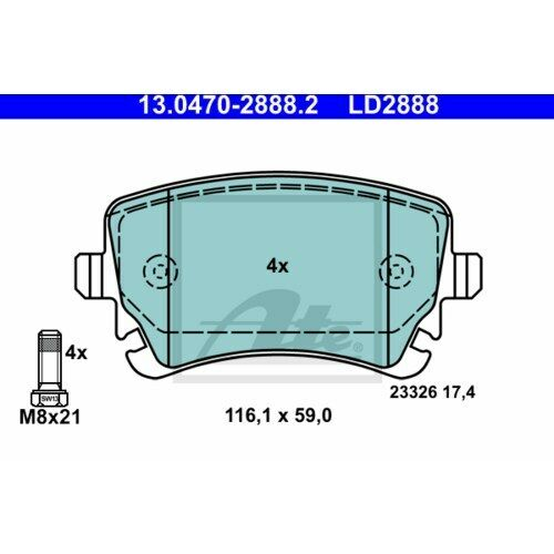 hinten ATE-CERAMIC Bremsbeläge mit Warnkontakt  AUDI A6 C6  Satz für vorne u