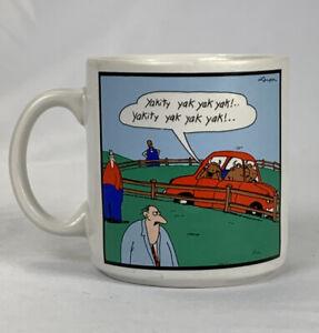 Vintage-039-86-Far-Side-Gary-Larson-Coffee-Mug-Cup-Carful-Yaks-Yakking-Yak-Yak-Yak