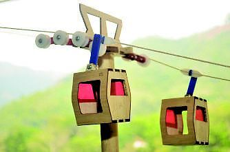 Building toy CABLE CAR set, wood, electric system, collectible.