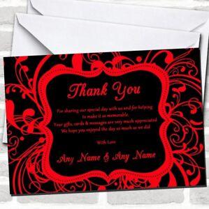 Black /& Red Swirl Deco Wedding Thank You Cards