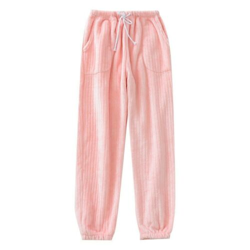Lady Pajama Bottoms Fluffy Flannel Stripe Lounge Home Pants Trousers Warm Winter