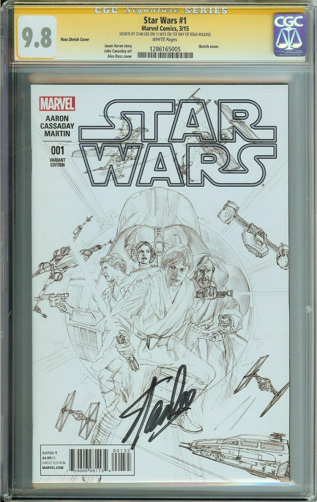 SIGNED BY STAN LEE SS STAR WARS CGC 9.8 WHITE PAGES Alex ROSS SKETCH COVER