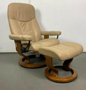 Details about Ekornes Stressless Leather Adjustable Recliner Chair Medium