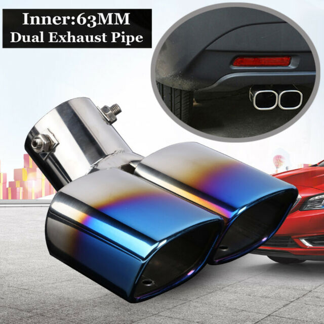 """2.5"""" Chrome Colorful Stainless Steel Car Rear Dual Exhaust Pipe Tail Muffler Tip"""