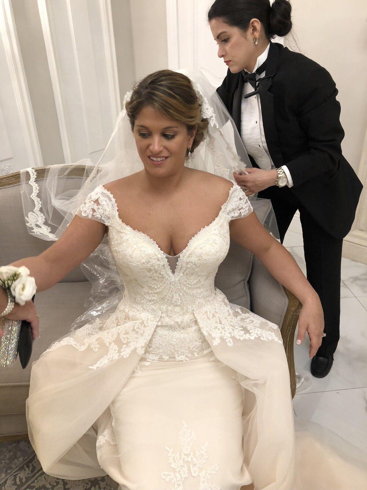 wedding dress size 12. Stefan Jolie lace sheath gown with chifon overskirt