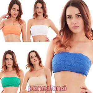 5de6558253b3 Top donna intimo reggiseno fascia pizzo coppe bandeau lingerie sexy ...